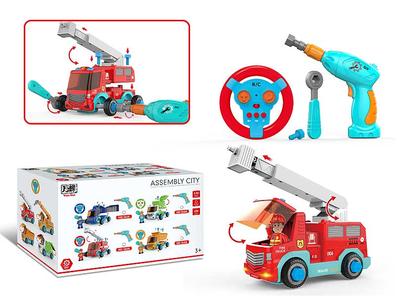 2.4G R/C Diy Fire Engine Car 2Ways toys