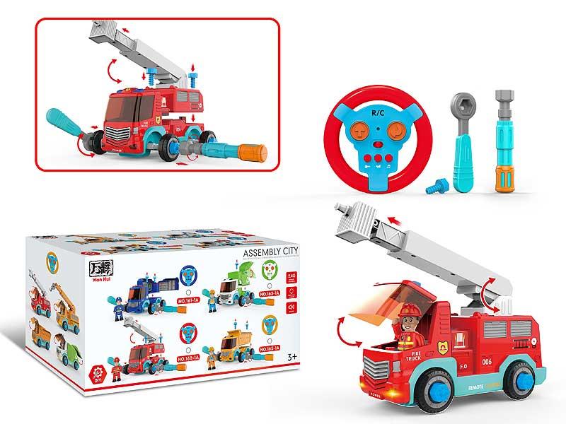 2.4G R/C Diy Fire Engine Car 2Ways toys