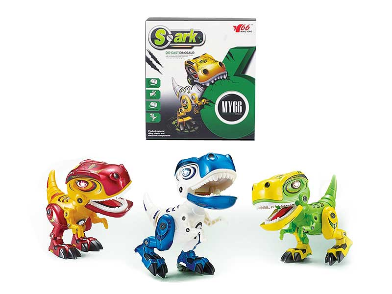 Die cast press dinosaur light sound or record function for choice toys