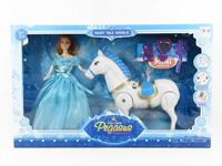 B/O Carriage W/L_M & 11.5inch Doll toys