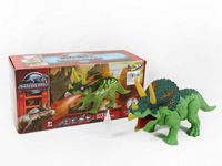 Battery operated walking dinosaur with light music and spray toys