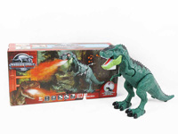 Battery operated walking dinosaur with music and spray toys