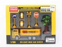 Die Cast Construction Truck Pull Back(4S)