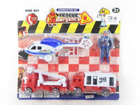 Pull Back Fire Engine & Pull Line Plane Set(3in1)