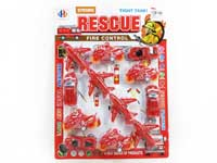 Pull Back Fire Engine Set(12in1)