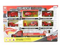 Pull Back Car Set & Free Wheel Container Truck(7in1)