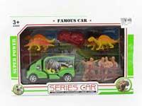 Free wheel car set, dinosaur set with car