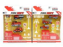 Die Cast Fire Engine Set Free Wheel(2S) toys