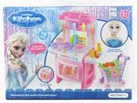 Kitchen Set W/L_M & Shopping Car & Doll