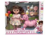 Moppet set, doll play set, gift for girl, scene set, hobbyhorse toy