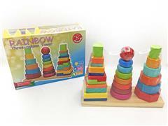 Wooden Three Column Building Block Tower toys