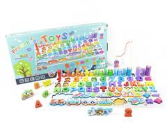 Wooden Traffic Animal Alphanumeric Fishing Matching Board toys