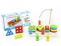 Wooden Magnetic Fishing Graphic Building Block Puzzle toys