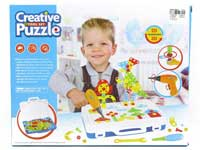 Toy DIY 3D JIGSAW PUZZLE Creative Tool Set With Electric drill