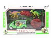 Dinosaur Set & Free Wheel Car