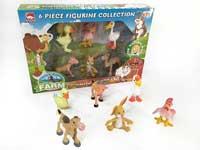 6Pcs eco-friendly 4 inch farm animal cartoon vinyl animal